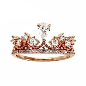 Rose gold Fashion laurel crown crystal ring